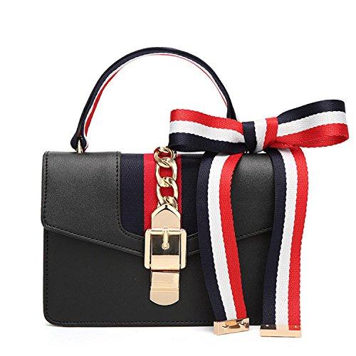 Handtaschen Satin Band Kleine Square Schulter Messenger Bag Kette Taschen Europa Und Die Vereinigten Staaten Mode Casual Joker,Black-OneSize -