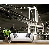 Fondo de pantalla de fondo de pantalla de fondo de pantalla TV de ladrillo 3d Puente clásico en blanco y negro dormitorio decorativos papel tapiz mural-400x280cm