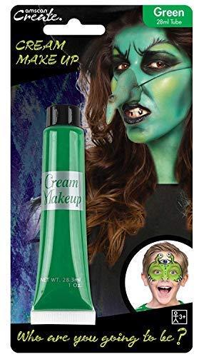 Mädchen Grün Creme Make-Up Gesichtsbemalung Monster Hexe Halloween Karneval Kostüm Verkleidung Outfit Accessoire ()