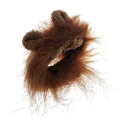 Xhorizon TM MSH Costume animal perruque crinière du lion pour chien chat Halloween avec oreilles(Brun)