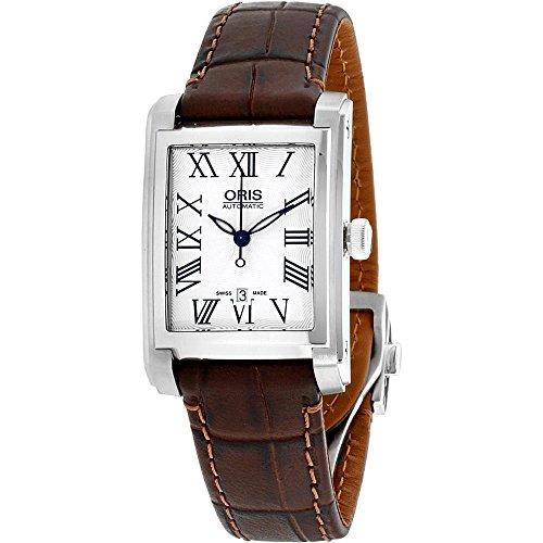 Oris Women's Rectangular Leather Band Automatic Watch 01 561 7656 4071-LS