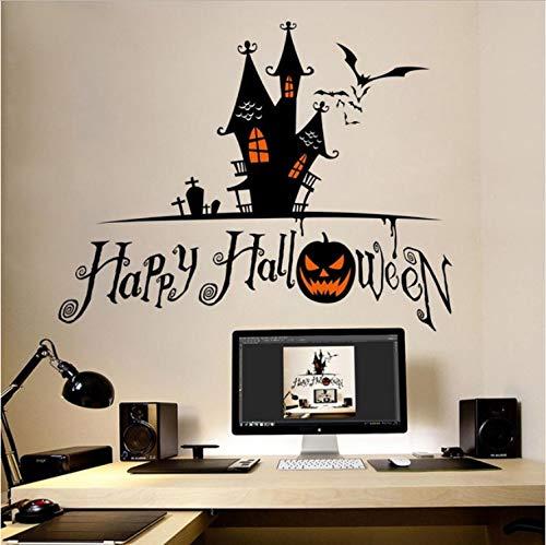 Zller2587 Wandaufkleber Abnehmbare Halloween Kürbis Schädel Kinder Schlafzimmer Wasserdicht Die Hexe Auf Einem Besen Poster Home Decor