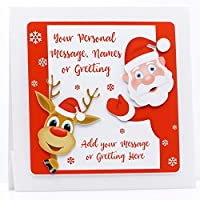 Handmade Personalised Father Christmas Santa Christmas Card Son-Daughter-Nephew-Niece-Goddaughter-Godson-Grandson etc Any Wording