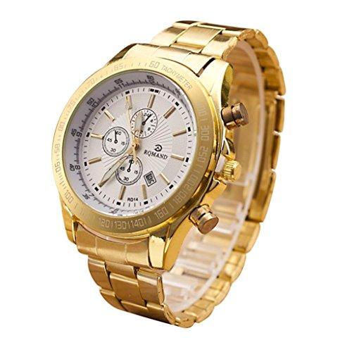 Yogogo Herren Quartz Analog Armbanduhr , 1 Cent Artikel Uhr | Legierungsband | Dekoration | Geschenk | Edelstahlgehäuse | Quarzwerk | 1.9cm Bandbreite | 24cm Bandlänge (Silber)