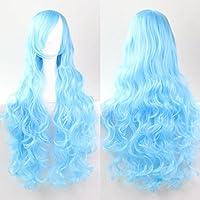 Mujeres Ladies Girls 80cm azules Color de largo rizado pelucas de alta calidad Carve pelo del partido de Cosplay del Anime del traje Bangs completa Sexy Pelucas
