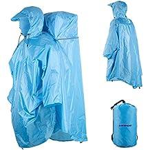 Overmont Impermeabile persone con copertura di zaino, per i backpackers/saccopelisti, gli escursionisti, trekking. Antipioggia, Protezione Outdoor, Copre il persone + zaino BLU