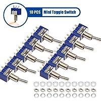 10 Piezas Interruptor de Palanca, AC 125V 6A ON-ON Interruptor Toggle Switch con 3 Pines 2 Posiciones, SPDT Mini Interruptores de Palanca Conexión única MTS102 para Auto Truck interruptores - Azul