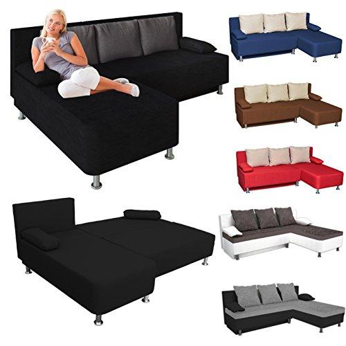 VCM Ecksofa / Couch mit Schlaffunktion / Stoff oder Kunstleder Schwarz / Grau