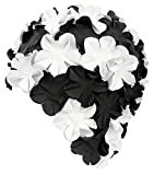 Aqua Speed BLOOM Mujer Casquillo baño retro (70s Caucho de látex Flores), Color Black/white