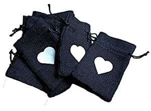 Desi Rang Black Jute Bags for Return Gifts Potli Pouches Burlap Shagun Occasion Festivals 6 x 4 inch (Pack of 20) Storage Black
