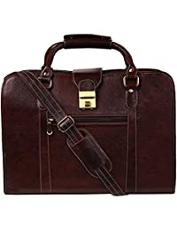 Ayesha Leather Works Pure Brown Leather Laptop Bag, Office Bag, Basket Type Laptop Bag