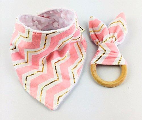 (2er-Set in verschiedenen Farben mit Halstuch und Beißring aus unbehandeltem Holz mit Knisterohren geeignet ab 0 Monate (Rosa Gold Chevron))