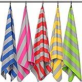 Fit-Flip Strandhandtuch XXL 200x100cm / Pink - Grau gestreift- strandlaken XXL, strandtücher 100x200, mikrofaser Decke 200x200, Badetuch groß 100x200