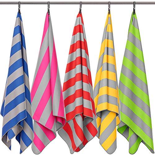 Fit-Flip Strandhandtuch XXL 160x80cm / Pink - Grau gestreift- Badetuch groß mikrofaser, handtücher Urlaub, mikrofaser Badetuch groß