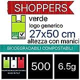500 BUSTE BIODEGRADABILI shoppers biocompostabili 500 pezzi 27x50 bio biodegradabili e compostabili gr 6,5 UNI 13432 KG 3,25-SCATOLA DA 500 SACCHETTI-