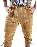 Almbock Herren Kniebund-Lederhosen aus Wild-Leder, Männer-Trachten-Hose mit verstellbaren Hosenträgern, braun, schwarz, antik, grau, beige