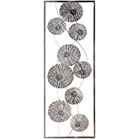 Burkina Home Decor Decoración Pared Círculos Plata, Metal, Plateado, 31x5x90 cm