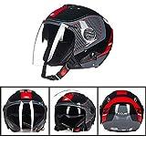 XC Motorrad Halb Offenes Gesicht Helm, Männer Und Frauen Doppelobjektiv Inneren Objektiv Objektivschutz DOT Genehmigt, Hell Schwarz Rot,XL