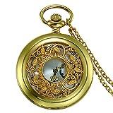 JewelryWe Retro Taschenuhr Golden Gehäuse Hohle Blumen Muster Herren Damen Analog Quarz Uhr Kettenuhr mit Halskette Kette Pocket Watch Geschenk