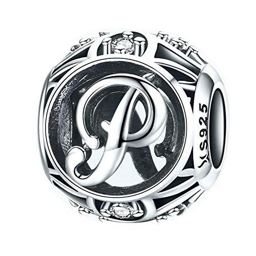 (Uignite Charm Beads 925 Sterling Silber Buchstabe des Alphabets Charm Anhänger für Armband und Halskette Buchstabe P)