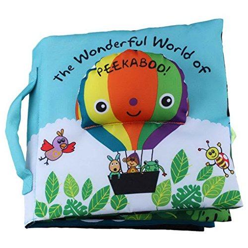 Happy Cherry - Juguete Libro Blando para Bebés de Actividad Educativo Peluche Infantil Multifuncional Libro de Paño a las escondidas