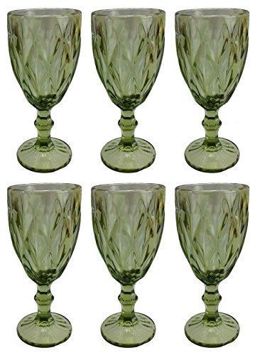 Vintage 6 Teile Set Rombus König Weinglas Glas Gläser Weingläser Wasserglas Longdrinkglas (Grün)