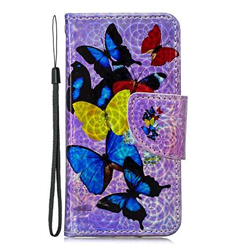 Tosim iPod Touch 6 / Touch 5 Hülle Leder, Klapphülle mit Kartenfach Brieftasche Lederhülle Stossfest Handyhülle Klappbar Case für iPod Touch6 / Touch5 - TOHEX110049 T1 -