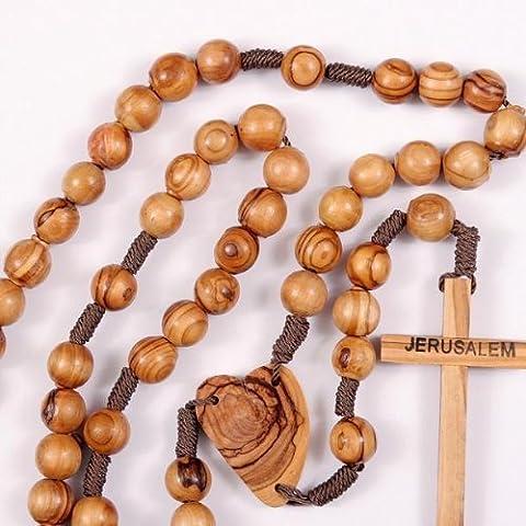 Grand cadeau Perle en bois Marron. Chapelet. Chapelet en bois d'olivier Terre Sainte