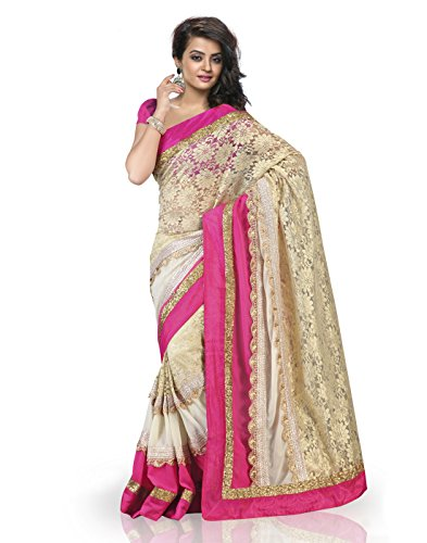 Chirag Sarees Synthetic Saree (4402-B_Rani)
