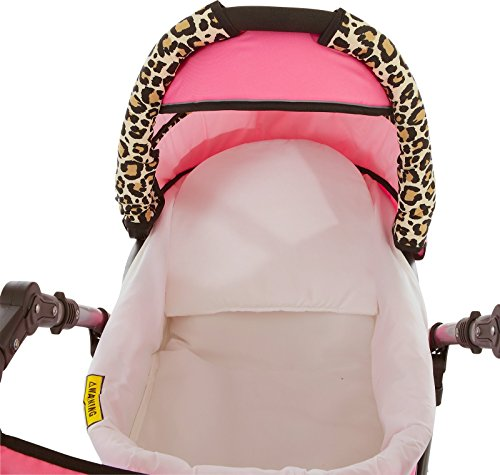 Chilly Kids Dino 3 in 1 Kinderwagen Set (Autosit & Adapter, Regenschutz, Moskitonetz, Schwenkräder) 32 Weiß & Snow Leopard