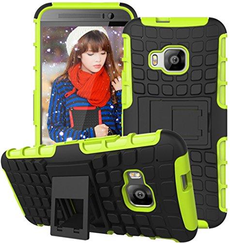 Preisvergleich Produktbild Nnopbeclik HTC One M9 Hülle,  Dual Layer Rugged Armor stoßfest Handy Schutzhülle Silikon Tasche für HTC One M9 - Grün + 1x Display Schutzfolie Folie