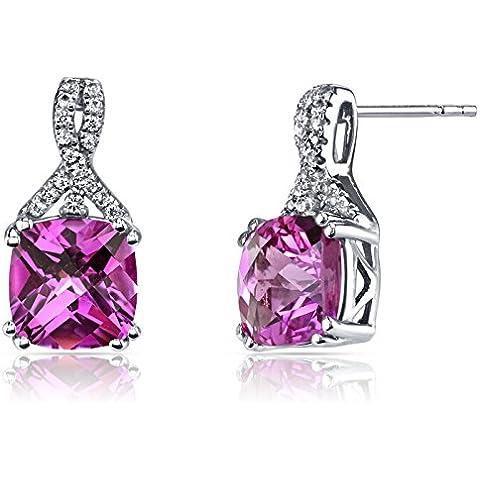 Revoni 14ct oro blanco creado zafiro rosa pendientes de diseño de la corte del amortiguador 6,00 quilates