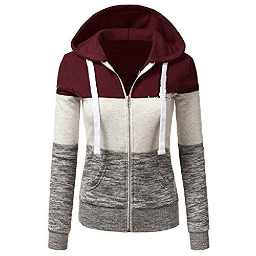 Dihope Femme Printemps Automne Sweat à Capuche Sweater Casual Hoodie Sweat-shirt Base-ball Top Manches Longues Veste Couleur 1