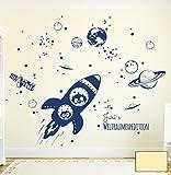 Wandtattoo Wandaufkleber Rakete Raumschiff mit Yuri und Neil im Weltall Weltraum M1653 - ausgewählte Farbe: *Creme* - ausgewählte Größe: *L - 120cm breit x 100cm hoch*
