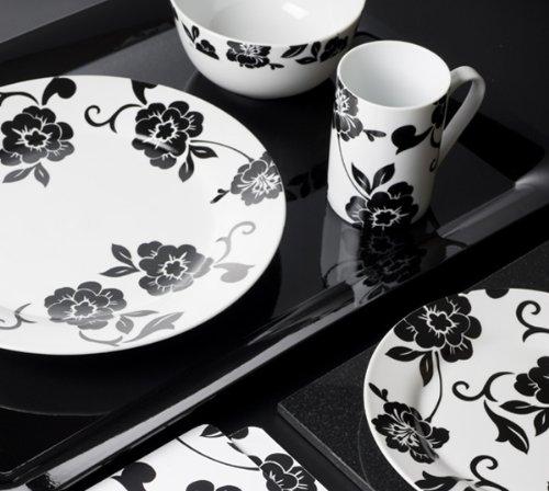 16 Piece Vivienne Black & White Porcelain Dinner Set by Creative Tops