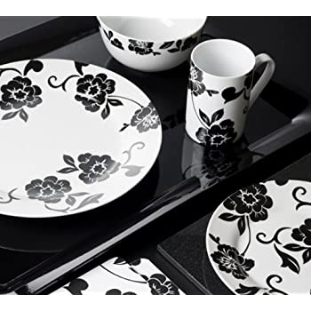 Creative Tops Vivienne Dinner Set, Porcelain, Black/White, 16-Piece