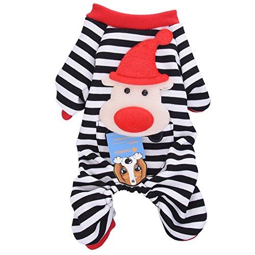 Perro de mascota abrigo de pijama de rayas pijamas mascota chaqueta para mascotas ropa de algodón de franela con Capucha del mono Cazadoras de perrito del gato del Perro de animal doméstico del invierno S / M / L / XL Negro