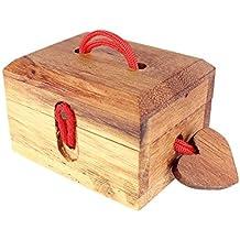 Caja mágica de amor – Caja regalo con cerradura mágica – Alhajera – Caja de madera – Standard -Medidas 8,5 x 6,5 x 5,5 cm