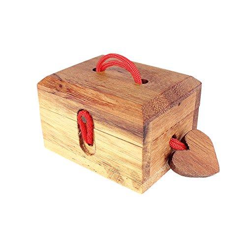 Scrigno Romantico con Cuore - Scatola Regalo con Gioco Rompicapo da Risolvere - Portagioie - Confezione in Legno per Piccoli Doni - Regalo di San Valentino Originale - ca. 8,5 x 6,5 x 5,5 cm