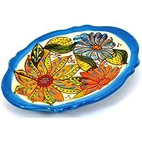 VASSOIO OVALE in ceramica fatto e dipinto a mano con decorazione flor 18,5 cm x 14 cm (AZUL CELESTE)