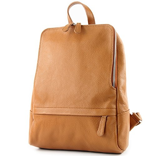 modamoda de - ital Damen Rucksacktasche aus Leder T138, Präzise Farbe:Camel