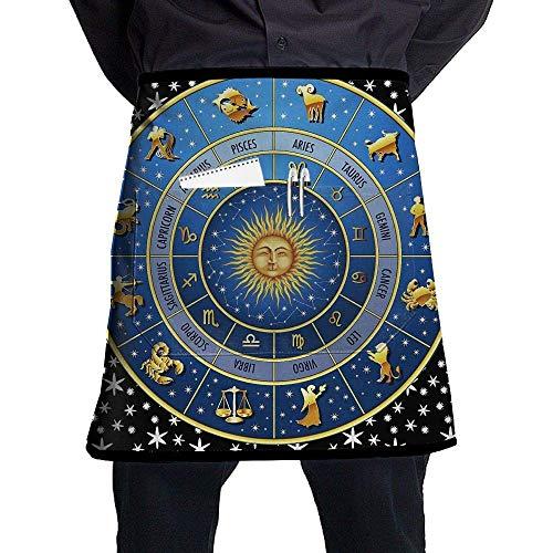QIAOJI Horoskope-Symbol Sun Digital Unisex Einzigartige Halbkörper-Taille Chef Schürze mit Tasche Home Kitchen Cooking Short Schürze für Pub Barkeeder