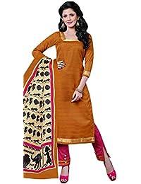 Hot Brown Bhagalpuri Silk Straight Suit With Dupatta.