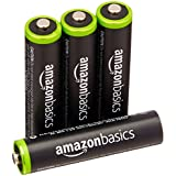 AmazonBasics Lot de 4 piles rechargeables Ni-MH Type AAA 1000 cycles à 800 mAh/minimum 750 mAh (design variable)