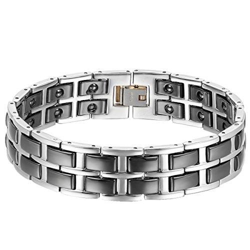 Cupimatch Herren Magnet Keramik Armband, 17mm Breite Schwer Poliert Link Handgelenk Magnetarmband Gesundheitsarmband Armreif, Weiss Schwarz