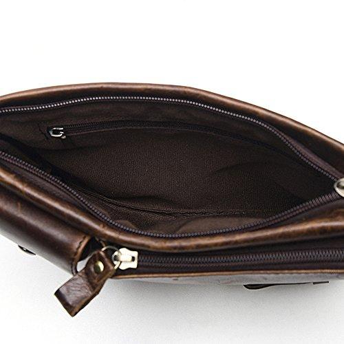MeiliYH Männer echtes Leder Tasche Messenger Bag Handytasche Retro Tasche Dunkelbraun