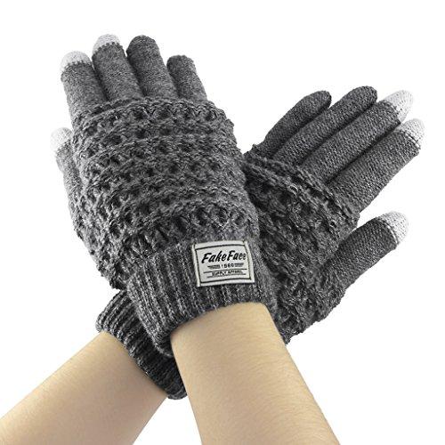 Liying Neu Unisex Touchscreen Handschuhe Fingerhandschuhe Strickhandschuhe für Winter Grau
