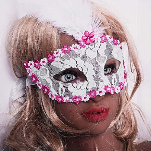 Bilder Mardi Gras Kostüm Von - TianranRT Karnevalsmaske,Dreamowl Pailletten Lace Floral Mardi Gras Maskerade Kostüm Federmaske,Weiß