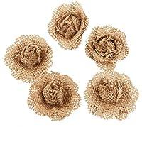 LUOEM 5pcs della Fiori tela Imballaggio Iuta Piccolo Bocciolo Rosa Fiore Artigianato Rustico Matrimonio Decorazione Festa Marrone