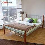 Homestyle4u Metallbett 180 x 200 Bettgestell Doppelbett Bettrahmen + Lattenrost 915 silber